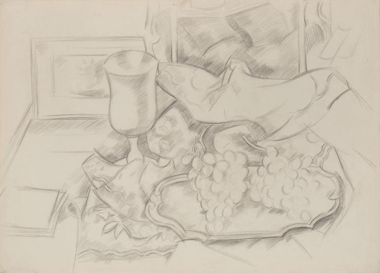 Marsden Hartley American, 1877-1943 Grapes with Jar, 1927   Graphite pencil on paper 22 1/2 x 31 1/8inches  ...