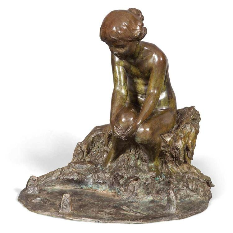 Edward Berge American, 1876-1924 Girl With Fish Fountain, 1914