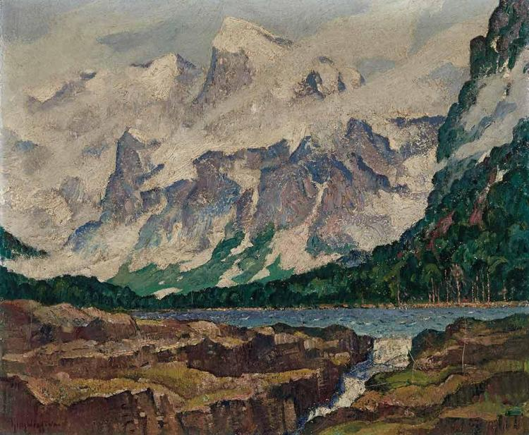 Guy Carleton Wiggins American, 1883-1962 Swift Current Falls, Glacier National Park Signed Guy Wiggins (ll...