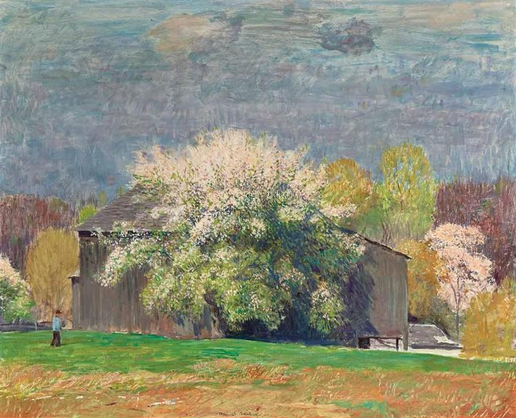 Daniel Garber American, 1880-1958 Early May (Old Barn and Apple Tree), 1948