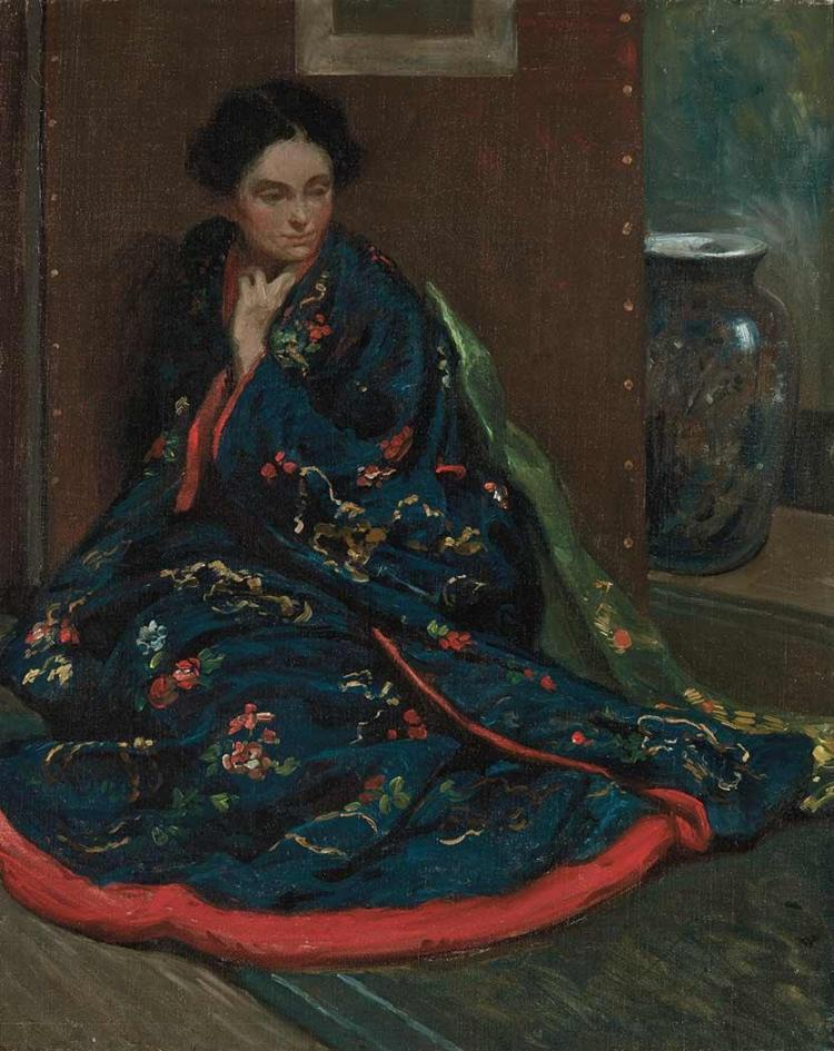 William Chadwick American, 1879-1962 Seated Woman in a Kimono   Oil on canvas 30 x 24 inches  Provenance: ...