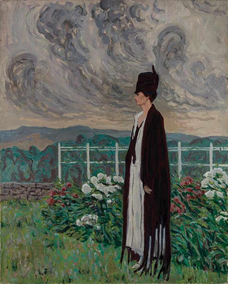 Allen Tucker American, 1866-1939 Woman in Garden   Oil on canvas 50 x 40 inches Unframed  Exhibited:  Ne...