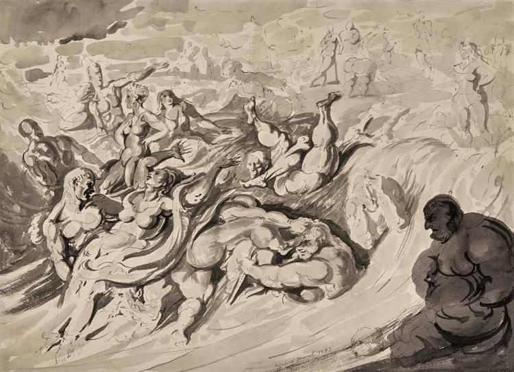Reginald Marsh American, 1898-1954 In the Bay, Coney Island, 1947   Signed and dated (lc) Chinese ink and wash o...
