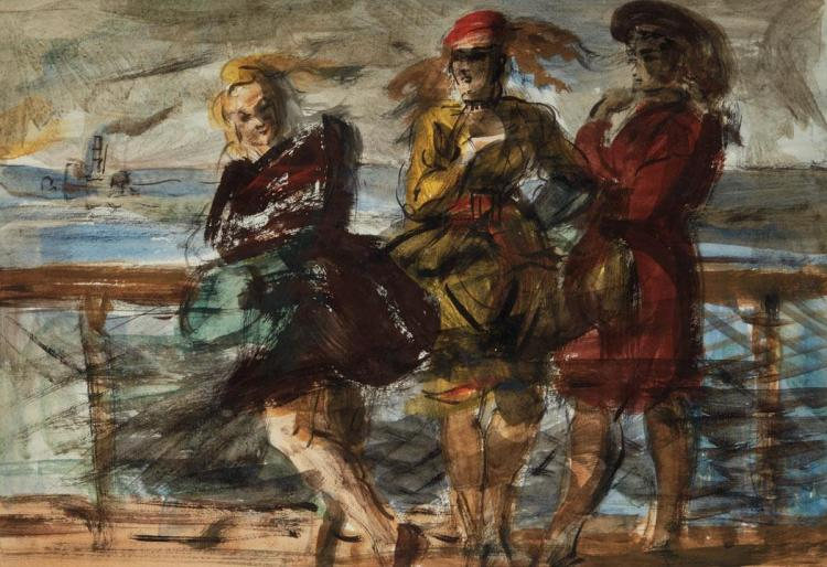 Reginald Marsh American, 1898-1954 Three Women on the Ferry