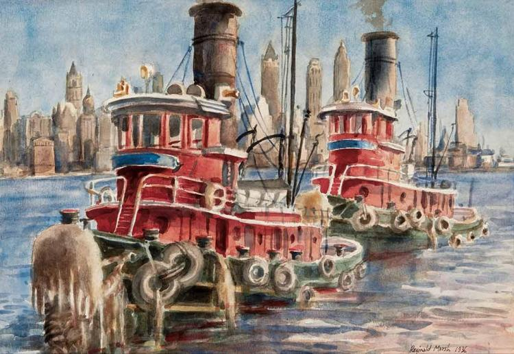 Reginald Marsh American, 1898-1954 Tugboats, 1936
