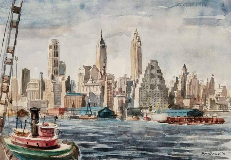Reginald Marsh American, 1898-1954 A Tugboat on the East River, near Lower Manhattan, 1938 Signed Reginald Ma...