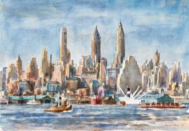 Reginald Marsh American, 1898-1954 Lower Manhattan from the East River, 1938   Signed Reginald Marsh and dat...