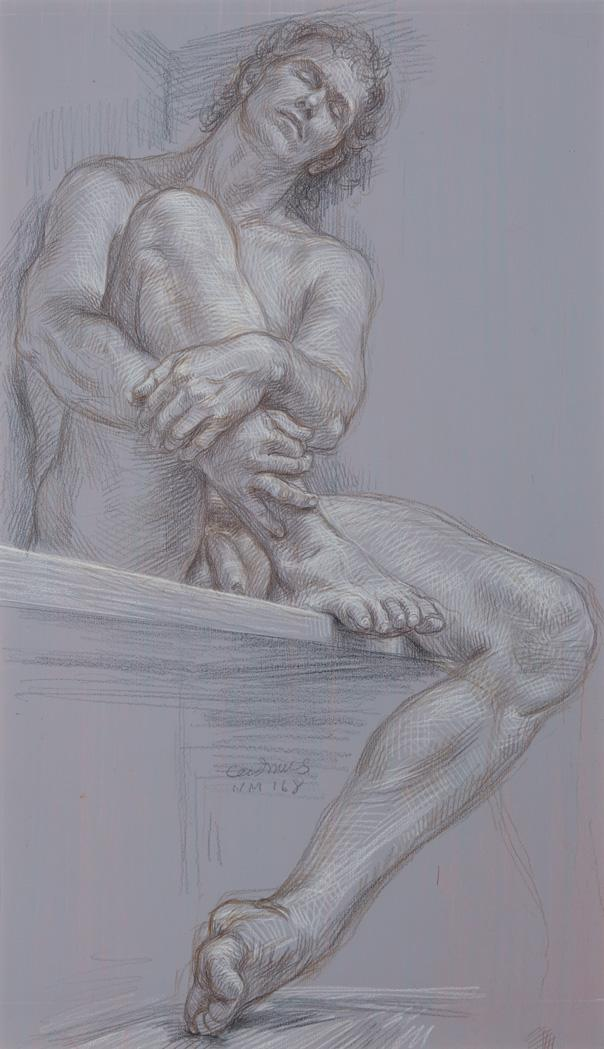 Paul Cadmus American, 1904-1999 Male Nude #NM168, 1982   Signed (lc) Prismacolor crayon and acrylic gesso on ill...