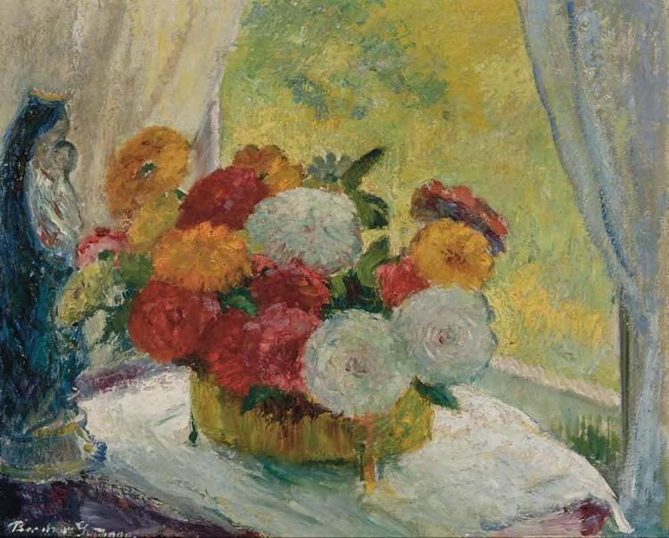 Bernhard Gutmann American, 1869-1936 Zinnias and Marigolds, 1915 Signed Bernhard Gutmann (ll); inscribed a...