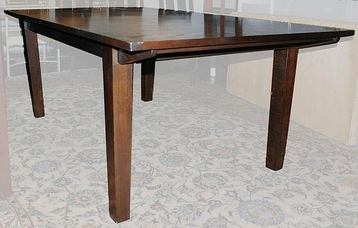 Wenge Finish Fruitwood Dining Table With Two Leaves