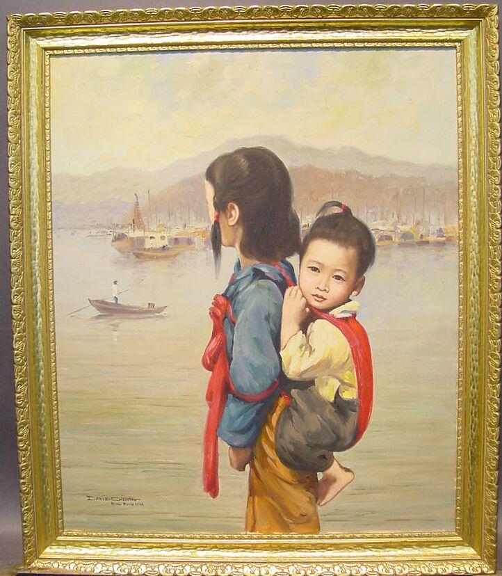 David Cheng American, 20th century HONG KONG HARBOR - MOTHER AND CHILD