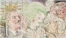 Paul Cadmus American, 1904-1999 Kunisada Chez, #2 Nous (Study for See No Evil, Speak No Evil), 1985