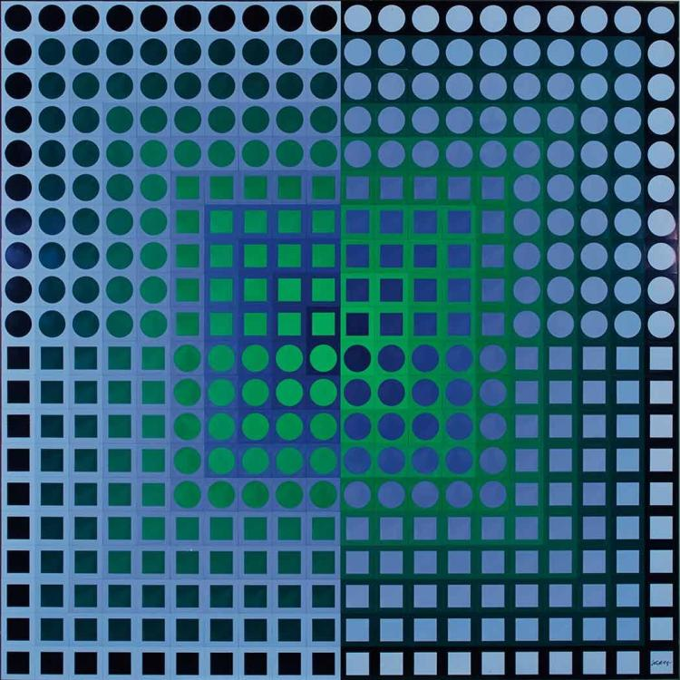 Victor Vasarely French/Hungarian, 1906-1997 Zoeld Blue/Green, 1971