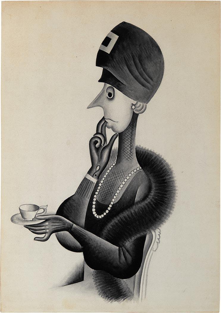 Miguel Covarrubias Mexican, 1904-1957 Tea Gossip, circa 1925-1927