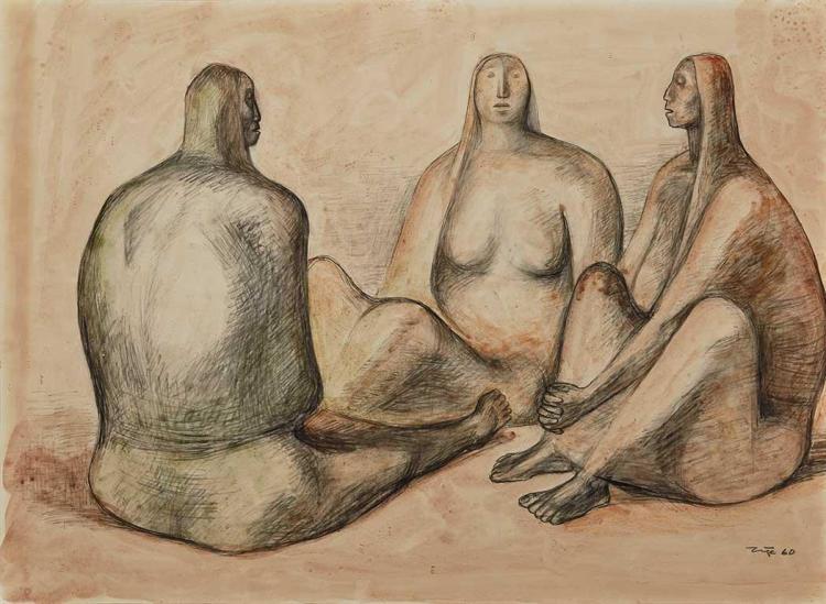 Francisco Zuniga Mexican, 1912-1998 Tres Mujeres, 1960