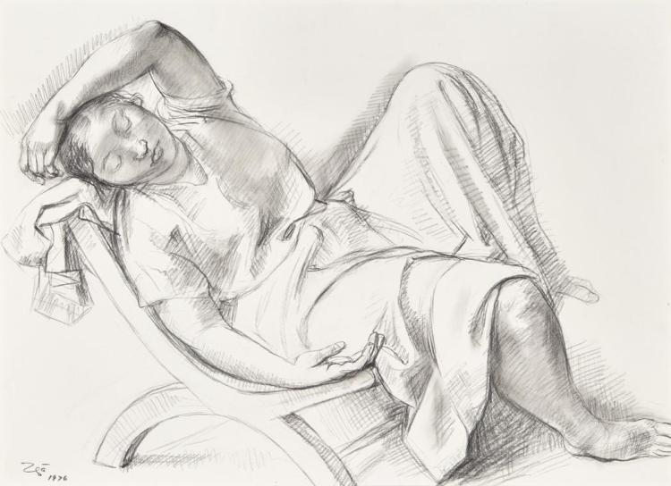 Francisco Zuniga Costa Rican/Mexican, 1912-1998 Joven Descansando, (Young Woman Resting), 1976