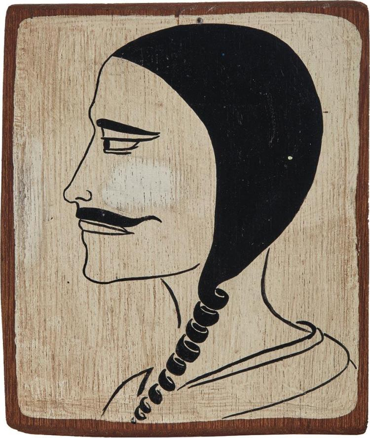 Margaret Kilgallen American, 1967-2001 Untitled (Woman with Mustache), circa 1997