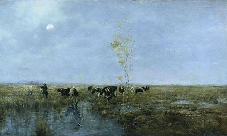 Bela von Spanyi Hungarian, 1852-1914 EXTENSIVE LANDSCAPE WITH CATTLE AT DUSK