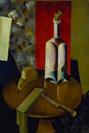 Natan Isaevich Altman Russian, 1889-1970 STILL LIFE WITH BOTTLE, KNIFE AND PEAR, 1919