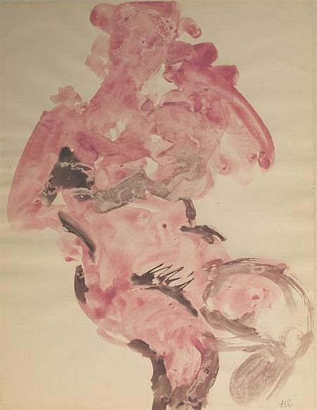 Peter Agostini American, 1913-1993 (i) Pink Nude, 1956, (ii) Blue Figure, 1956, (iii) Half-Length Portrait of a Female Nude, 1956.