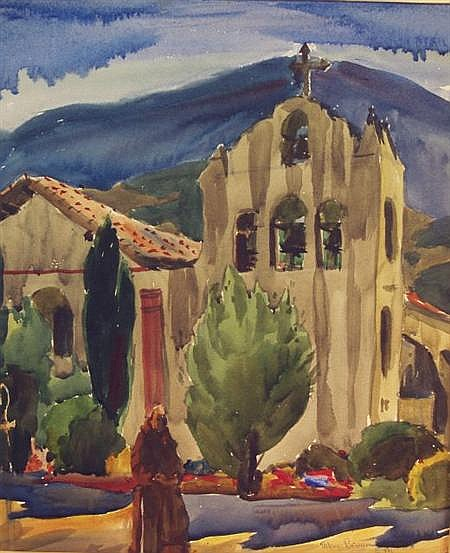 Arthur J. Beaumont American, 1877-1956 Mission Santa Inez, California, 1949