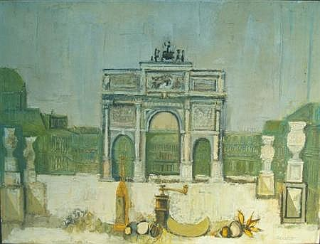 David Pryor Adickes American, b. 1927 L'Arc du Carrousel with a Still Life in the Foreground