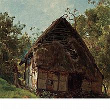 Thomas Worthington Whittredge American, 1820-1910 Thatched Cottage (Westphalian Cottage)
