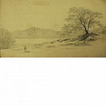 John William Hill British/American, 1812-1879 Island in the Narrows, Lake George, N.Y.