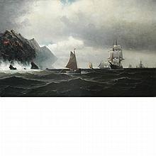 American School 19th Century Ships on a Choppy Sea, 1878