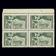 Switzerland 1930 10Fr. Gray Green Block of Four Scott 185, Zumstein 179