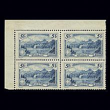 Switzerland 1928 5Fr. Re-engraved Block of Four Scott 206, Zumstein 178