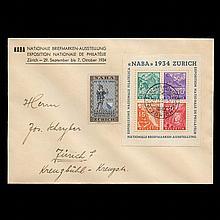 Switzerland, 1934 NABA Souvenir Sheet on First Day Cover Scott 226, Zumstein Z1