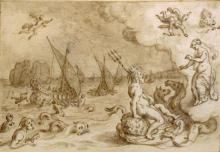 Italian School 16th/17th Century Neptune and Venus Conversing, with Aeneas''s Helmsman Palinurus Falling into the Sea in the Distance..