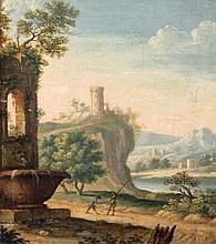 Flemish School 17th Century Figures in a Capriccio Landscape