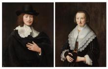Govaert Flinck Dutch, 1615-1660 A Lady and Gentleman: A Pair, circa 1640-1649