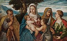 Bonifazio de'' Pitati, called Bonifazio Veronese Italian, 1487-1553 The Madonna and Child with Saints John the Baptist, Joseph, Anne an