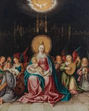 Cornelis de Baellieur Flemish, 1607-1671) The Virgin and Child Enthroned in a Gothic Interior, with Musical Angels