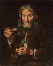School of Bernhard Keil A Man Eating Peas