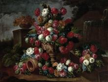 Attributed to Gasparo Lopez Floral Still Lifes: A Pair