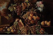 Neapolitan School 17th Century Still Life of Melons, Grapes and Other Fruit with a Vase of Flowers