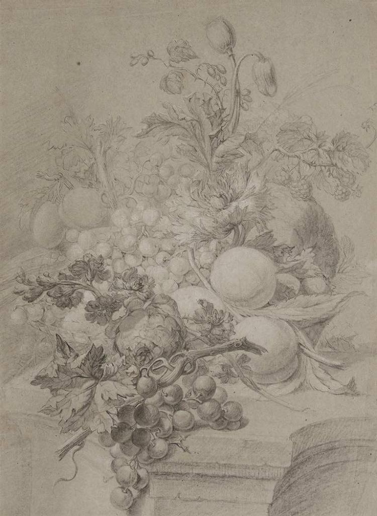 Attributed to Jan Baptist Weenix Fruit on a Ledge