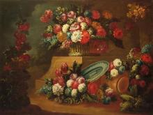 Neapolitan School 18th Century Still Life with Flowers, Porcelain and Round Jar in a Landscape