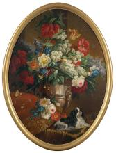 Attributed to Margarete Van Os Still Life of Flowers in a Sumptuous Vase, with a Reclining Spaniel