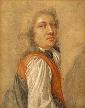 Charles Antoine Coypel French, 1694-1752 A Gentleman Wearing a Red Vest   Pastel on paper 10 x 7 5/8 inches (25....