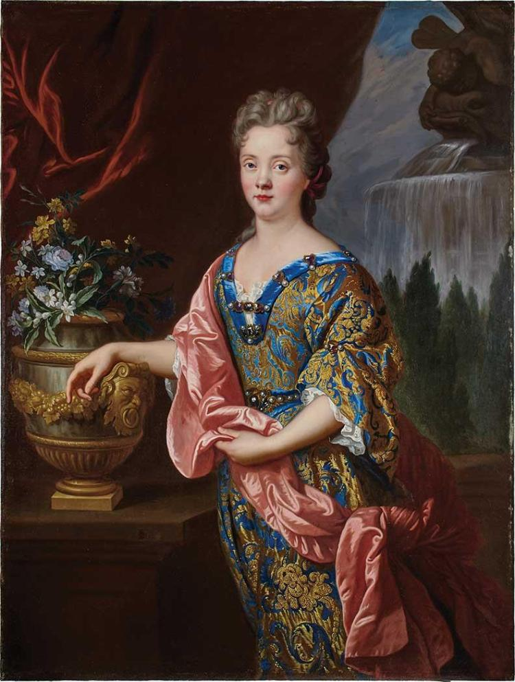 Francois de Troy French, 1645-1730 Portrait of an Elegant Lady Resting her Arm on an Urn, circa 1680-85