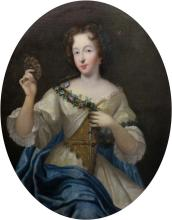 Circle of Pierre Mignard Portrait of a Lady Holding a Garland