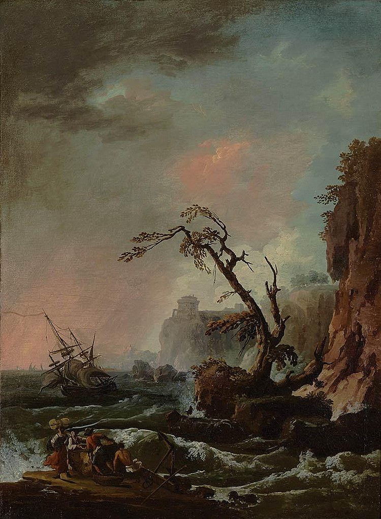 Follower of Claude Joseph Vernet Ships in a Storm Off Coastal Cliffs