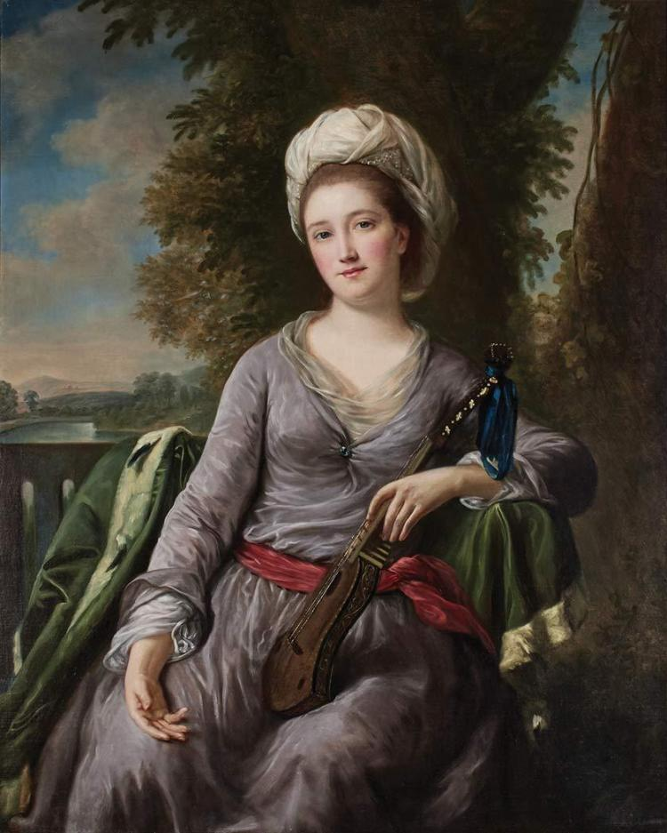 English School 18th Century A Lady Holding a Small Viol