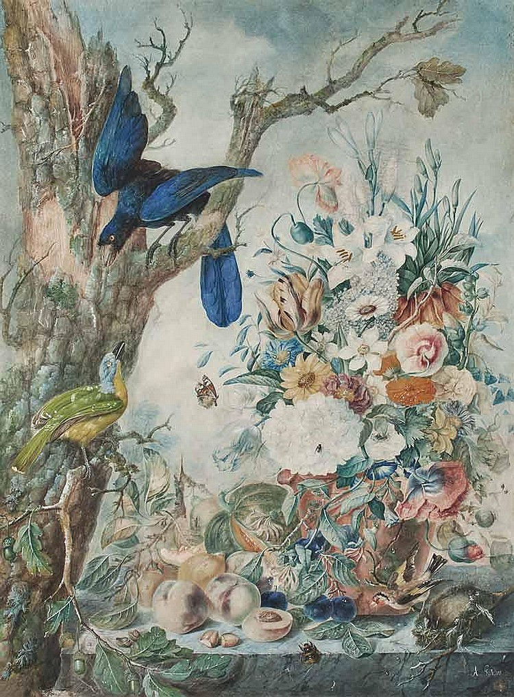 French School 18th/19th Century Exotic Birds with Fruit and Flowers in a Landscape