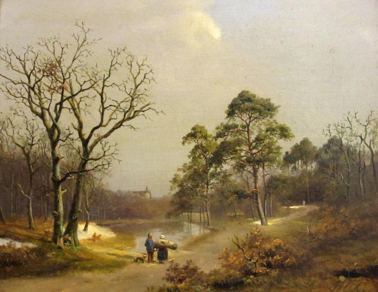 Attributed to Barent Cornelis Koekkoek Couple on a Road Beside a Pond